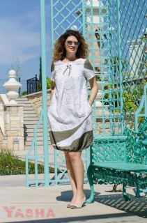 Art Dress Linen Navi and Olive