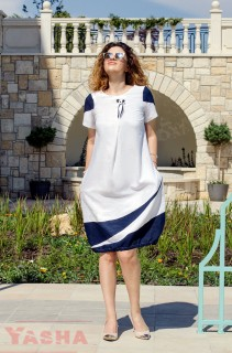 Art Dress Linen Navi and White